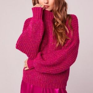 NWT Band Of Gypsies Fuschia knit sweater SZ- M